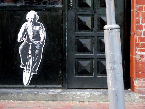 Einstein/bicycle paste-up - Peter Drew