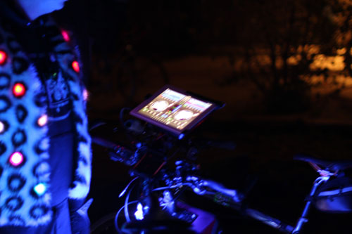The bright bike had an iPad mounted up front with some DJ software on it.