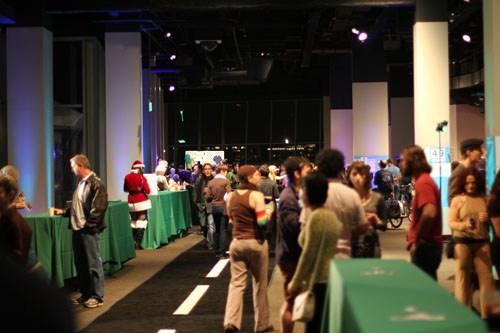 The decor was bike lane themed with a long rug resembling a city street and table cloths resembling green bike lanes.
