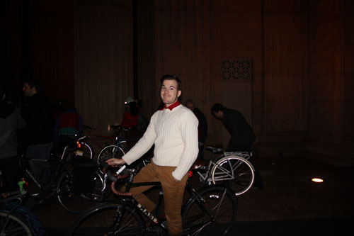 He gets the award for male Cycle Chic that night.