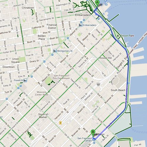 Bike route from Ferry Bldg at Market St/Embarcadero to Caltrain Station