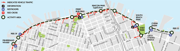 Embarcadero Sunday Streets starts at Pier 52 to Fisherman's Wharf.