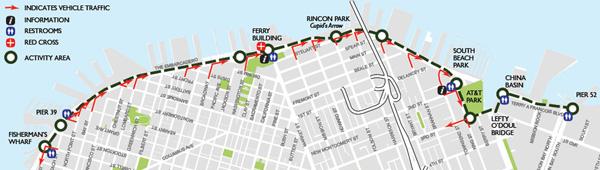 Embarcadero Sunday Streets starts at Pier 52 to Fisherman's Wharf.