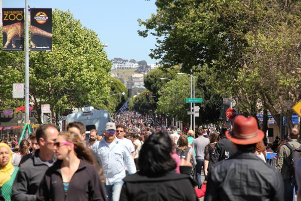 Sea of people on 24th St. (facing East).