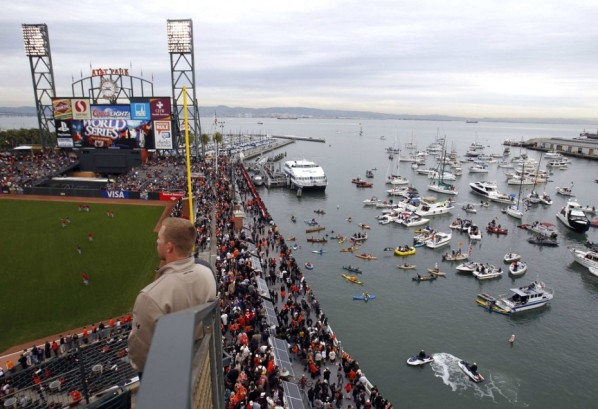 The areas around the stadium get packed including on the water in McCovey cove. (Image courtesy of rsvlts.com)