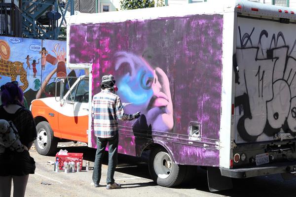 Graffiti artist in action!