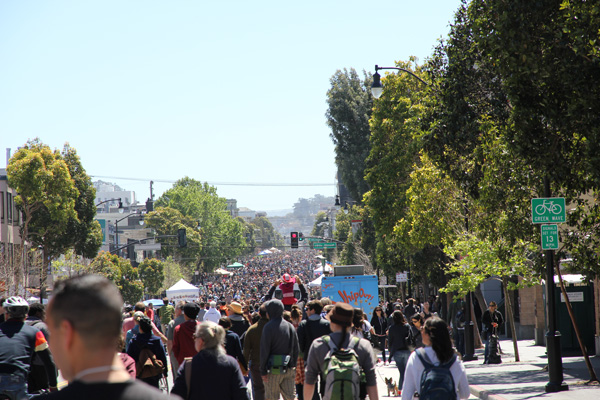 Ocean of people on Valencia St. (face South).