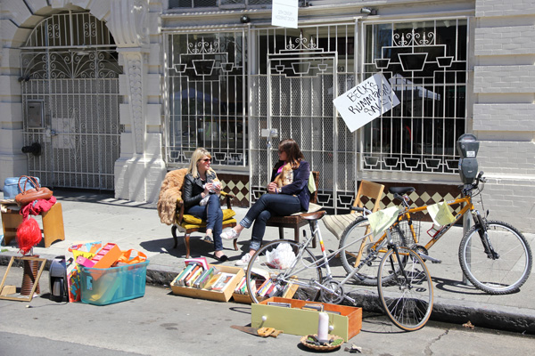 Beck's Rummage Sale! That Peugeot mixte will be gone by day's end.
