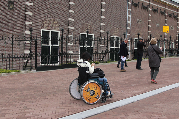 Wheelchair that was detached from the front end of the bike.