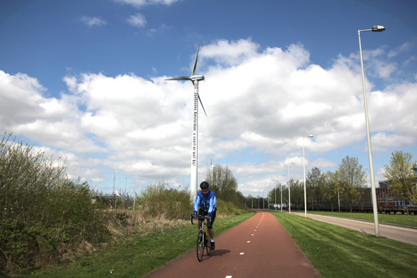 Wind turbines along the cycle track.