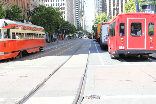 MUNI light rail track on Market St. near Steuart St.
