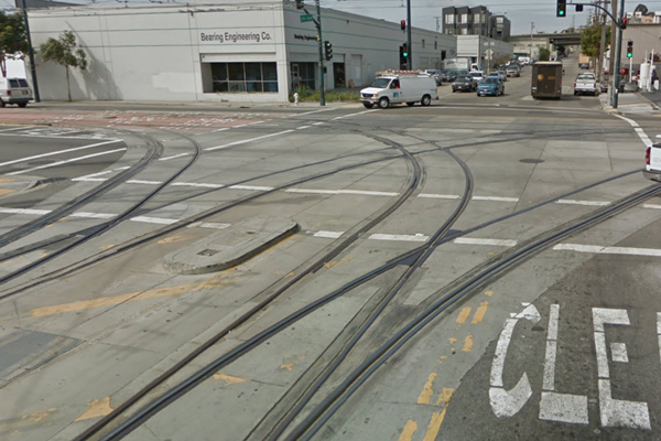 Mulitple MUNI light rail tracks on 3rd and 25th St.