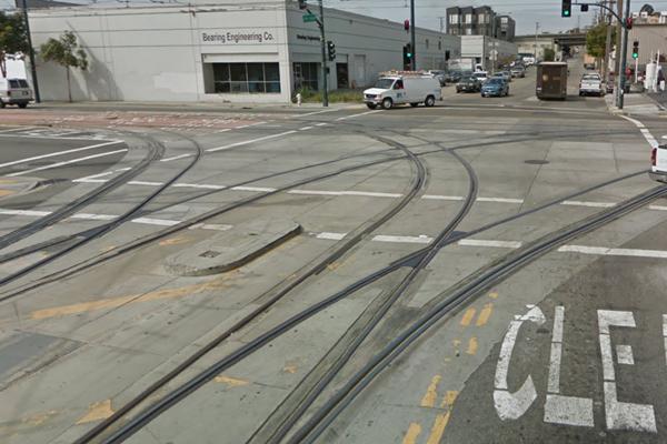 Mulitple MUNI light rail tracks on 3rd and 25th St.