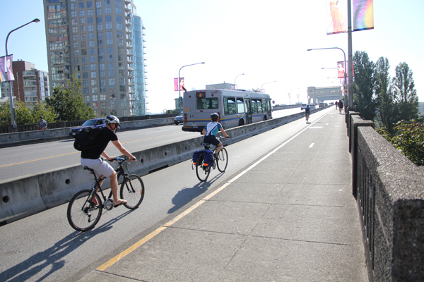 Burrad Bridge is one of the 4 bridges in Vancouver with a cycle track.