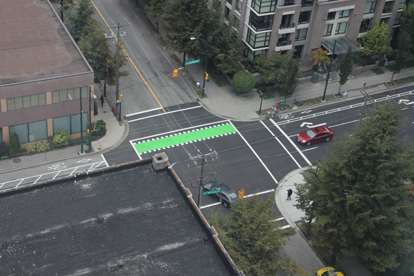Crossbikes are common but less common at smaller intersection.