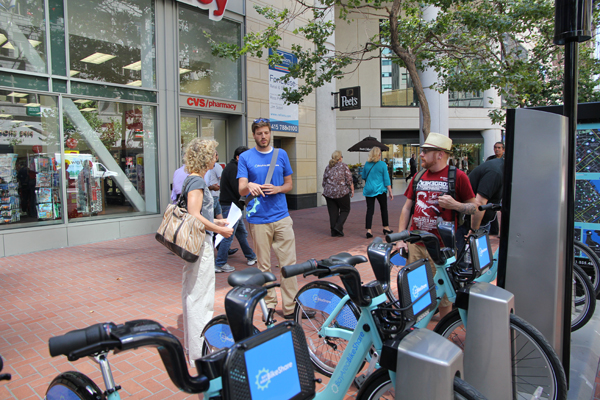 A BABS staff was there on the first day to show how bike shares work.