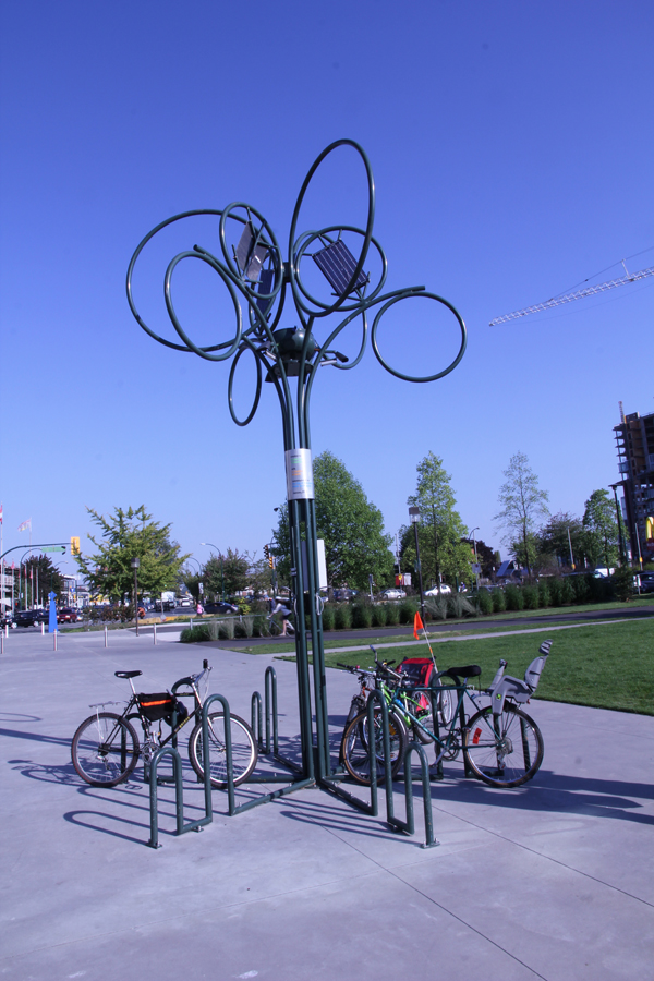 Located outside of the Science World museum, this bike rack is powered by solar panel.