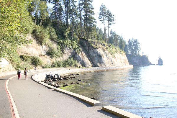 Bicycle route along Stanley Park.