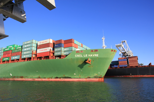 One of many cargo ships waiting to dock at the Port of Oakland.