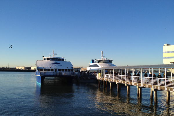 SF Bay Ferries boarding at Jack London Square, Oakland