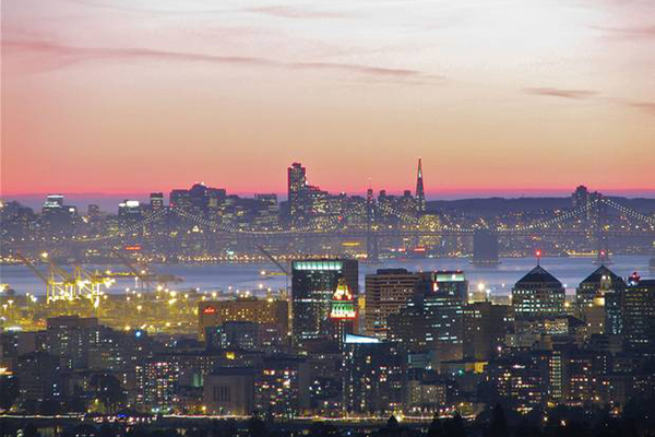 SF in the background while Oakland is in the foreground.  Source:  The Independent