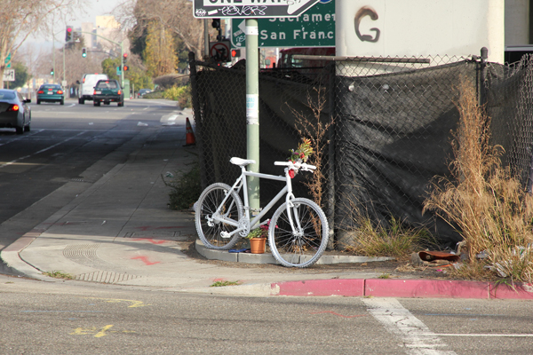 Susan's ghost bike at Market and 5th St.