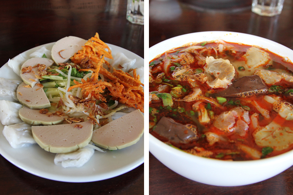 Two Tay Ho's special dishes:  Banh Cuon and Bun Bo Hue