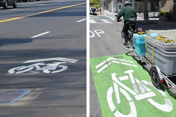 Bike sharrow (left) and super bike sharrow (right). Are bike sharrows becoming more common?