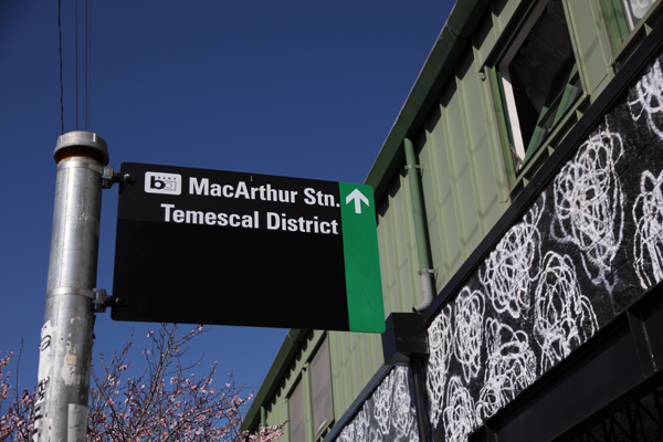 Street sign indicating green sharrow bike path leading to MacArthur BART Station