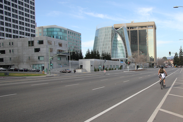 Super wide streets are common in Oakland which provide enough space to put in cycle tracks.