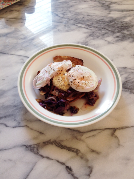I didn't make the poached eggs well, but the dish still came out delicious especially because of the creme fraiche.