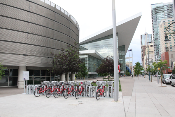 This bike share station is located on the sidewalks near our hotel on 14th St. and Welton St.