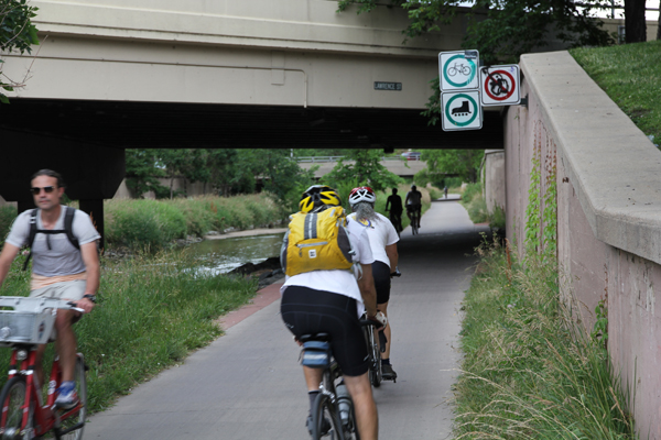 You see both recreational and utilitarian cyclists on the Cherry Creek bike trail.