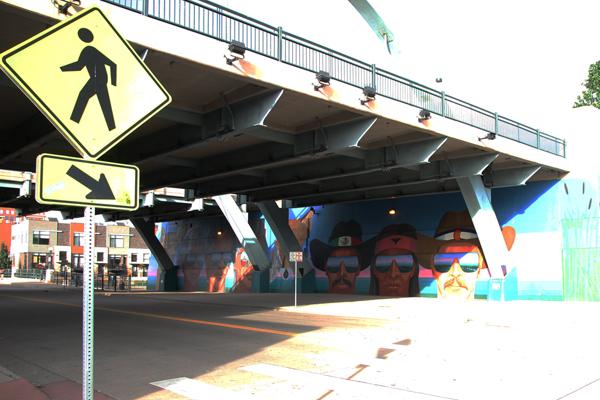 Confluent People street art by local artist, Emanuel Martinez, under Speer Blvd. and Little Raven St.