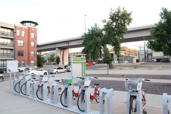 A bike share station is placed in Prospect neighborhood which is not completely finished.