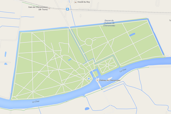 A map of Chateau de Chenonceau - there are many paths potential for a epic casual bike ride.