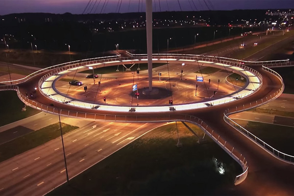 The Hovenring Eindhoven lies at the outskirts of the city Eindhoven, built so cyclists won't have to intermingle with drivers