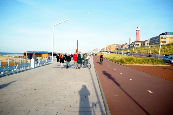 A cycle track on the beach of Scheveningen