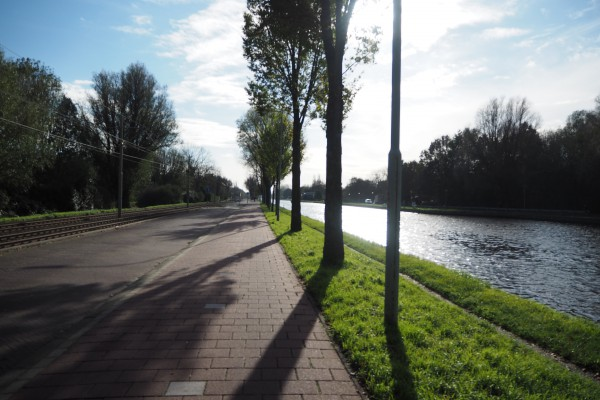 On a cycle track just outside of Leiden