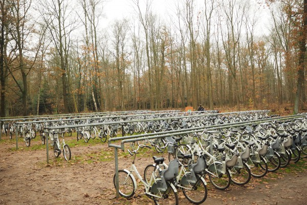 White bicycles to rent out for free at all 3 entrances.