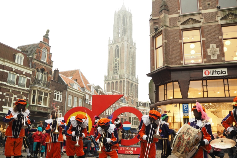 Note:  Sinterklass celebration and bike art behind shows that Tour de France will begin in Utrecht in 2015.