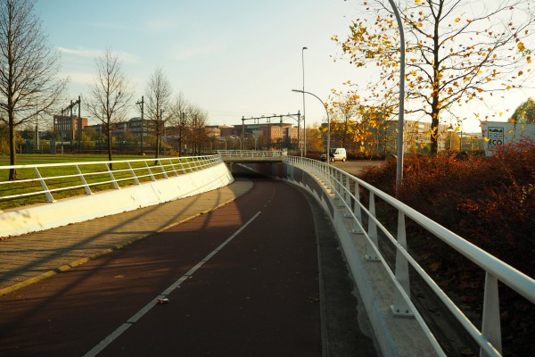 Many cycle tracks cut through the high traffic streets via tunnels like this one.