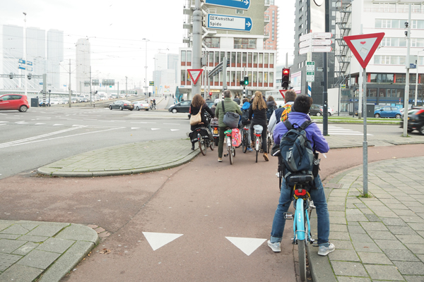 A protected intersection in Rotterdam. Note curb island at left side of photo.