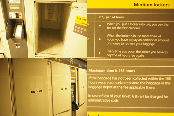 Medium and large sized lockers can be found in the basement floor.