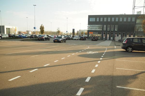 Yep, a parking lot that has a bike lane through it.